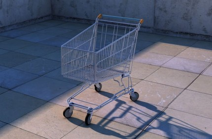 shopping cart is empty in a parking lot