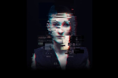 woman in front of dark background - the face consists of large pixels and is therefore difficult to recognize