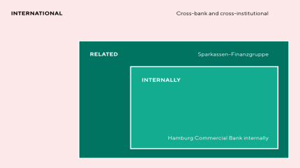 Cash management: International (multi-bank); related (within the savings banks group); internal (Hamburg Commercial Bank internal)